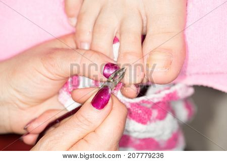 pedicure at beauty salon . Photos in the studio