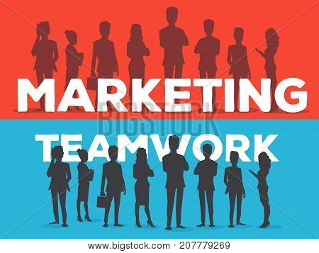 Vector Creative Illustration Of Business Team. Two Templates Of Banner With Office Staff Team. Silho