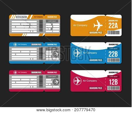 Set Travel concept airplane tickets Isolated on black  background. Vector illustration