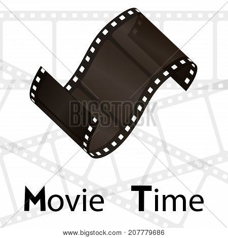 Cinema vector poster design template. Movie time background banner shining film strip sign.
