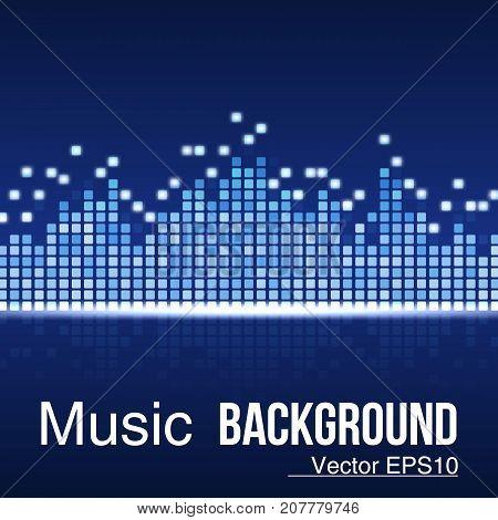 Music background equalizer .Sound wave on blue background. Vector illustration. Eps 10