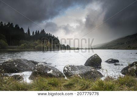 Dawn Landscape Image Of Llynnau Mymbyr In Autumn In Snowdonia National Park