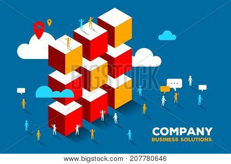 Vector Creative Illustration Of Business People And Pile Of Large Color Boxes With Clouds On Blue Ba