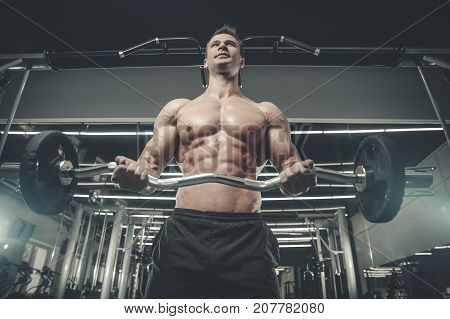Attractive Model Young Man Training In Gym