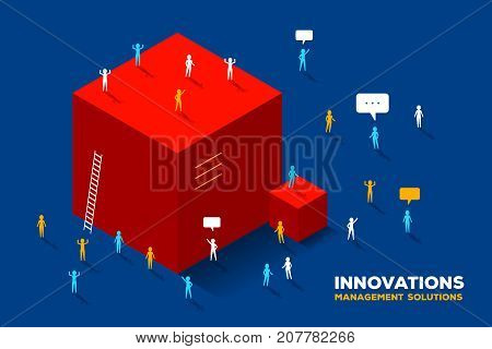 Vector Creative Business Illustration. Innovation Solution Concept On Blue Background. Symbol Of Car