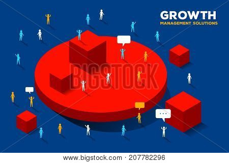 Vector Creative Business Illustration. Financial Growth Concept On Blue Background.