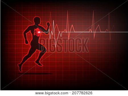 illustrator heartbeat electrocardiogram and running man red background