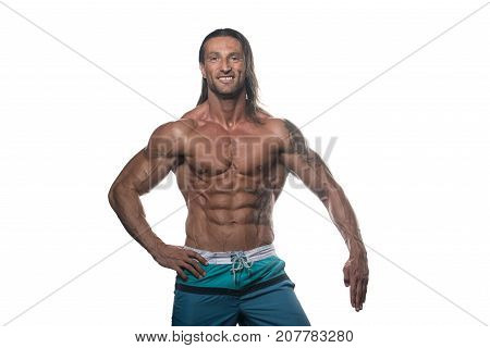 Muscular Bodybuilder Guy Posing Over White Background