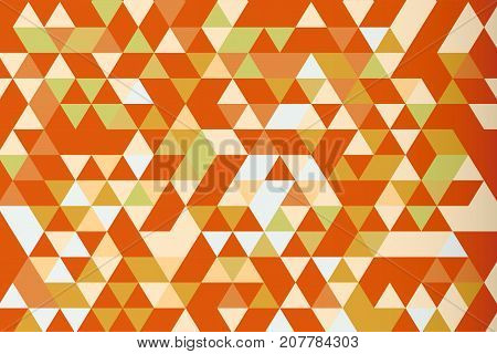 Orange mosaic triangle prism vector background, warm tone