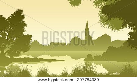Vector horizontal illustration morning landscape of lake shore with trees and village in green tone.
