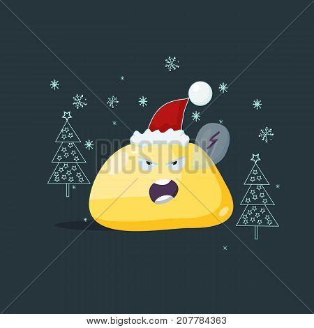 Christmas card. Enraged emoji character. Vector flat style. poster