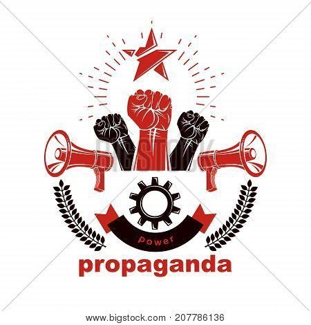 Vector leaflet created using clenched fists raised up megaphones equipment and engineering cog wheel element. Dictatorship and manipulation theme totalitarianism as the evil power.