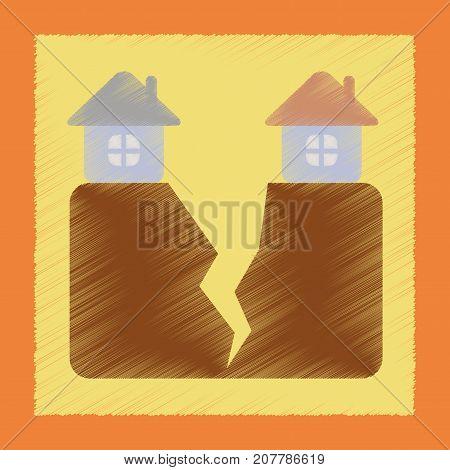 flat shading style icon nature house earthquake