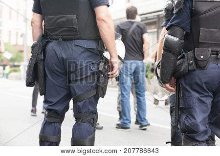 Police officers on duty. Counter-terrorism. Law enforcement.