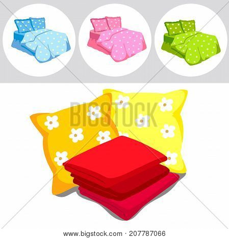 The perfect color bedding set. Pillows, sheets, blankets. Vector Illustration of a cartoon