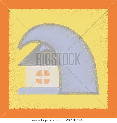 flat shading style icon nature tsunami house