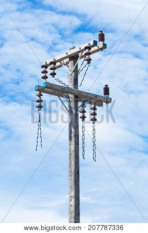 Closeup to Concrete Electrical Power Transmission Pole [without cable]