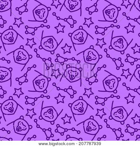Seamless pattern of the constellations Ursa Major and Ursa Minor, vector illustration