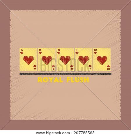 flat shading style icon poker royal flush