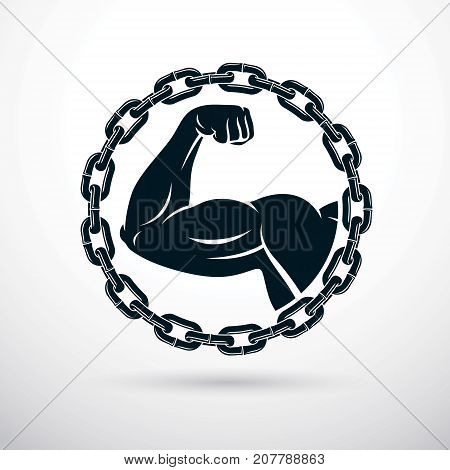 Athletic arm composed with iron chain symbol of strength lifter graphic vector illustration. Power lifting.