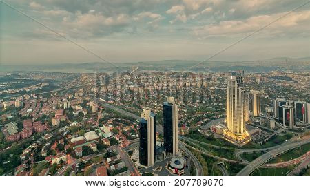 Istanbul, Turkey - April 23, 2017: Istanbul city view from Istanbul Sapphire skyscraper overlooking the Bosphorus at dusk