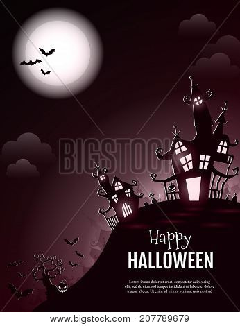Vector Happy Halloween poster with creepy castle, pumpkin and cemetery. Perfect for greeting card, flyer, banner, poster templates and invitations. Vector night background.
