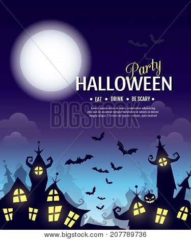 Vector Halloween party poster with creepy city, pumpkin and cemetery. Perfect for greeting card, flyer, banner, poster templates and invitations. Vector night background.