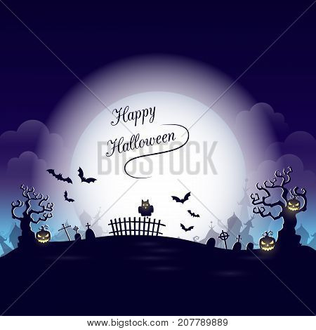 Vector Happy Halloween poster with  creepy  pumpkin, owl, moon  and  cemetery. Perfect for greeting card, flyer, banner, poster templates and invitations. Vector night background.