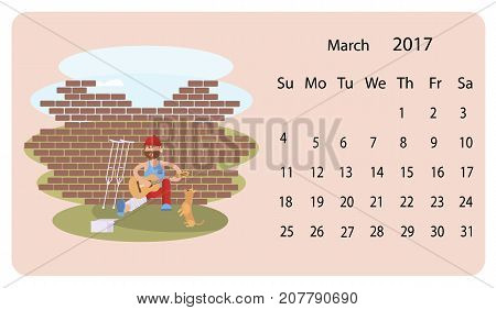 Calendar 2018 for March with cute set of dog and Homeless man illustration in cartoon style. Isolated vector illustration eps 10.