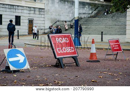 London United Kingdom -1 October 2017: British Road closed signs