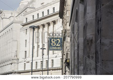 London United Kingdom -2 October 2017: Sign at Lombard Street overlooking Bank of England