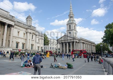 London United Kingdom - 2 October 2017: St Martins in the field from Trafalgar Square