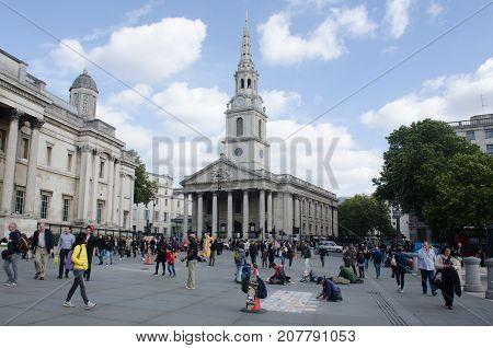 London United Kingdom 2 October 2017: St Martins in the field Trafalgar Square