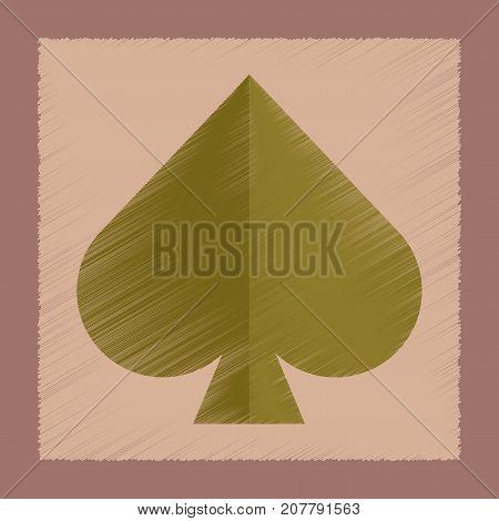 flat shading style icon poker game spades