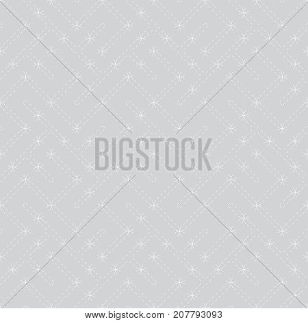 Vector seamless pattern. Modern stylish texture. Regularly repeating geometric grid with chaotic dashed thin lines. Abstract linear maze background. Graphical design element