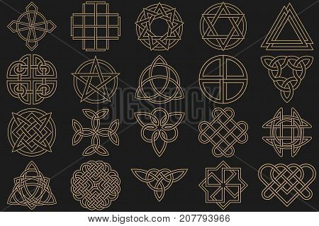Character set executed in linear style.Celtic signs knots and interlacings. Concept of secret and origin of mankind. The mascots and charms executed in the form of logos. Magic signs. Vector illustration.