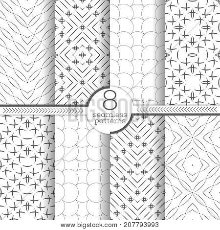 Set of vector seamless patterns. Abstract textured backgrounds. Modern geometrical textures with regularly repetition geometric shapes. arc star line rhombus round.