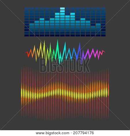 Vector digital music equalizer audio waves design template audio signal visualization signal illustration. Multitrack editing system soundtrack line bar spectrum electronic.