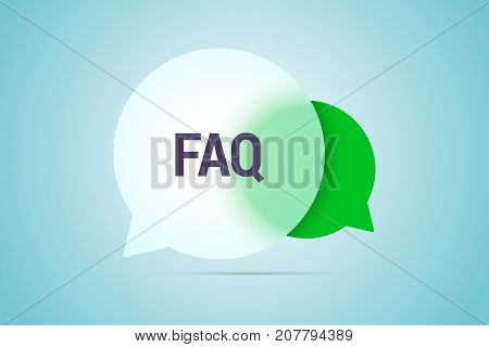 FAQ illustration with two speech bubbles with transparent effect. Vector illustration.