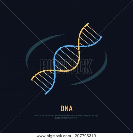 DNA helix icon. Concept symbol of biochemistry and nanotechnology. Vector illustration.