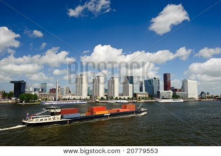 Rotterdam Skyline And Container Ship