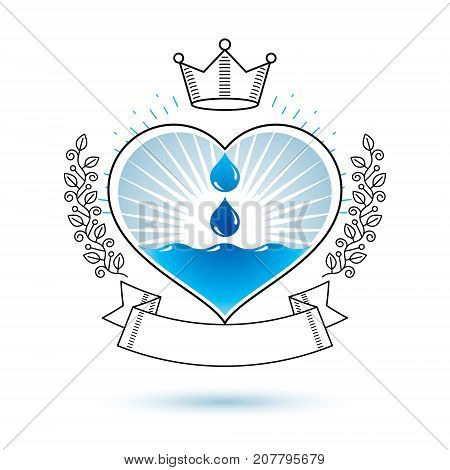 Vector blue clear water drop logo for use as marketing design symbol. Environment conservation concept.