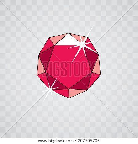 Vector shining gemstone design element symbol. Luxury diamond icon illustration.