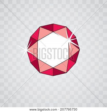 Vector glossy gemstone design element illustration. Brilliant jewelry icon logo.