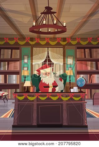 Santa Claus Reading Wish List Sitting At Desk In Christmas And New Year Holidays Office Flat Vector Illustration