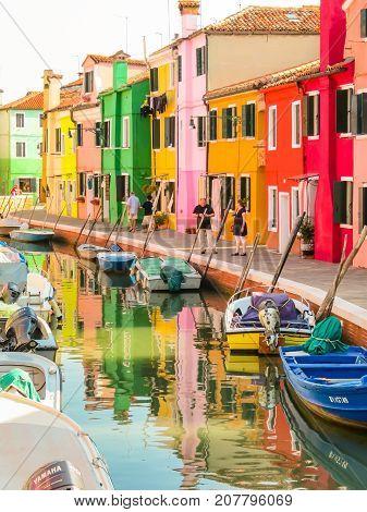 Color Houses On Burano Island, Venice, Italy
