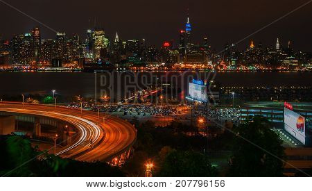 NEW YORK NY - SEPTEMBER 15 2016: View of Midtown Manhattan Skyline at blue hour in New York City.