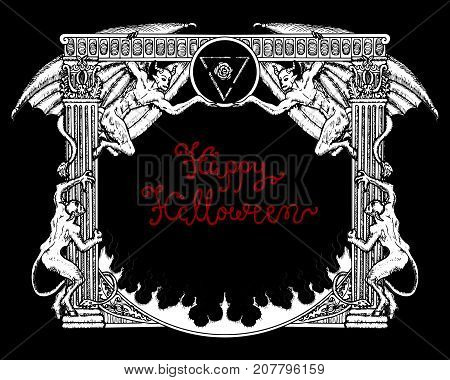 Halloween gothic frame with demons and pentagram on black background. Hand drawn illustration with design elements