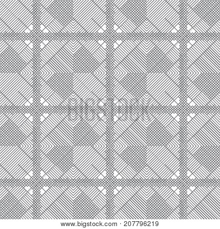 Vector seamless pattern. Regularly repeating modern geometrical texture with thin lines which form difficult linear ornament. Trendy design.