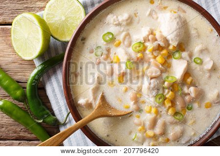 Slow Cooker White Chili Chicken With Beans And Corn Close-up On The Table. Horizontal Top View